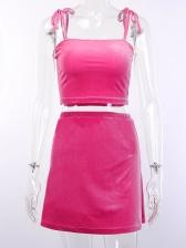 Fashion Solid Color Self Tie Skirt Suit