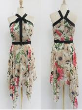 Spring Floral Binding Bow Irregular Sleeveless Dresses