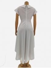Hot Sale V Neck Solid Big Swing Dress