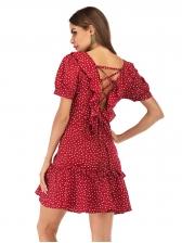 V-Neck Ruffles Dots Print Burgundy Dresses