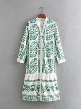 V Neck Print Flounce Hem Long Sleeve Dress