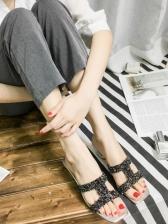 Fashionable Rhinestone Patchwork Chunky Heel Slippers