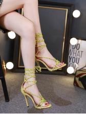 Roman Style Crossed Strap Lace Up Zipper Women Sandals