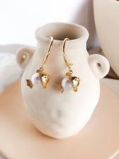 Chic Fish Pearl Gold Pendant Earrings