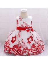 Embroidered Studded Bow Girls Gauze Dress
