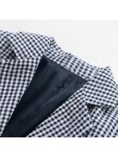 Spring Lapel Plaid One Button Blue Blazers