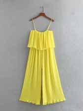 Holiday Overlay Wide Leg Pleated Yellow Jumpsuits