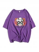 Crew Neck Printed Loose Half Sleeve T-shirt