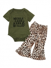 Letter Cotton Romper With Leopard Flare Pants