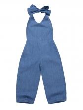 Tie-Wrap Backless Denim Girl Halter Jumpsuit