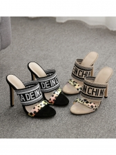 PVC Dot Letter Printed Women Slip On High Heels