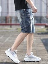 Denim Multi Pocket Harem Destroyed Short Pants