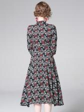 Euro Print Button Stand Neck Midi Dresses