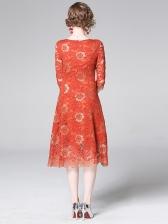 Summer Lace Overlay High Waist Midi Dresses