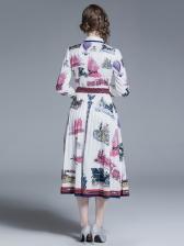 Stylish Turndown Collar Ruched Print Maxi Dress