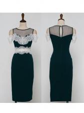 Elegant Crew Neck Gauze Patchwork Fitted Pencil Dress