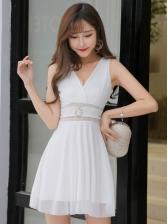 Sheer Patchwork Sleeveless Dress For Women
