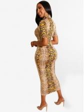 V Neck Serpentine Print Short Sleeve Sheath Dress