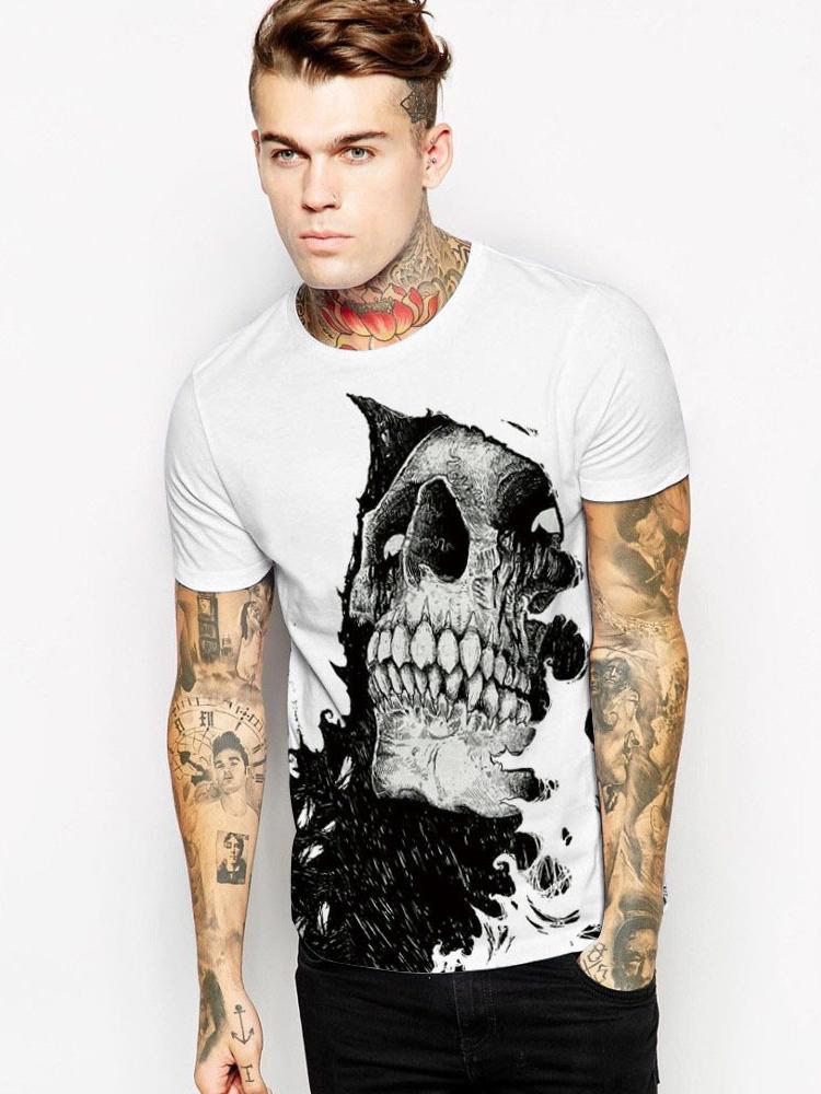 Skull Print Crew Neck T-Shirt