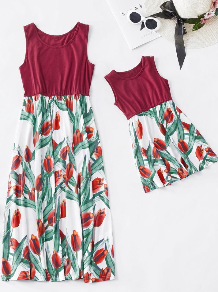 Summer Mother And Girls Print Patchwork Sundress