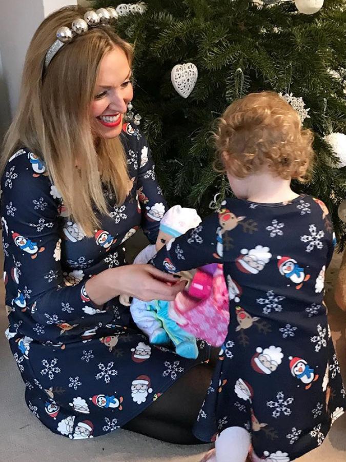 Mother And Girls Snowman Print Long Sleeve Dress