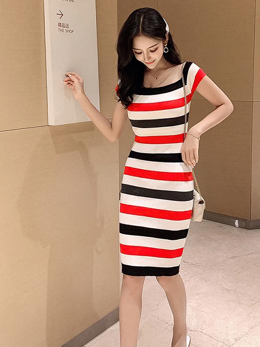 Multicolored Striped Square Collar T-Shirt Dress