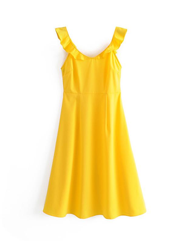 Vocational U Neck Yellow Sleeveless Dress