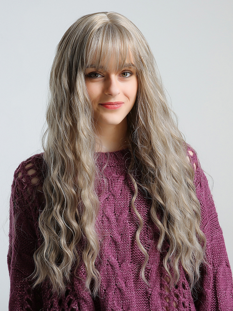 Fashion Neat Bang Long Water Wave Synthetic Wig