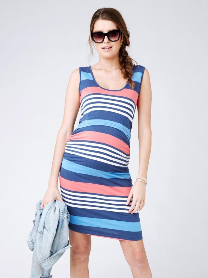 Maternity U Neck Sleeveless Striped Dresses