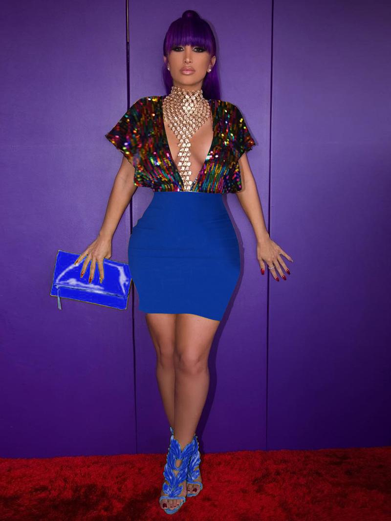 Deep V Neck Backless Sequin Pencil Dress
