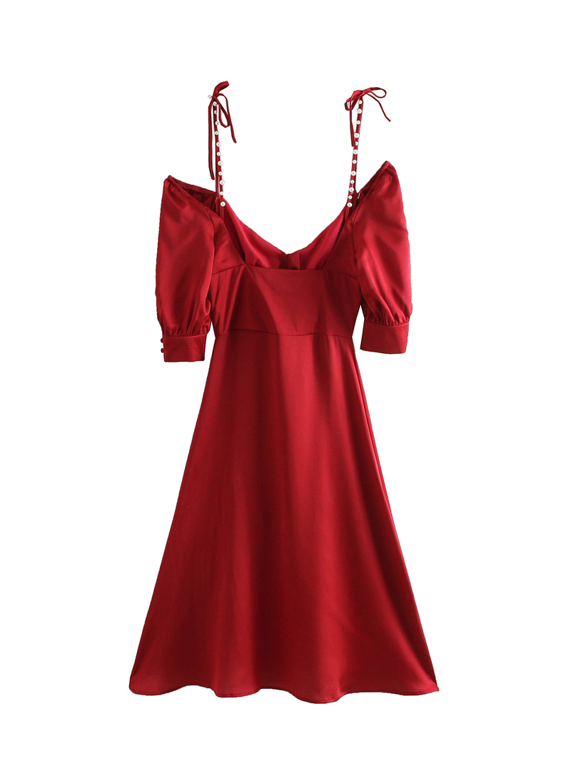 Sexy Backless Puff Sleeve Red Dress
