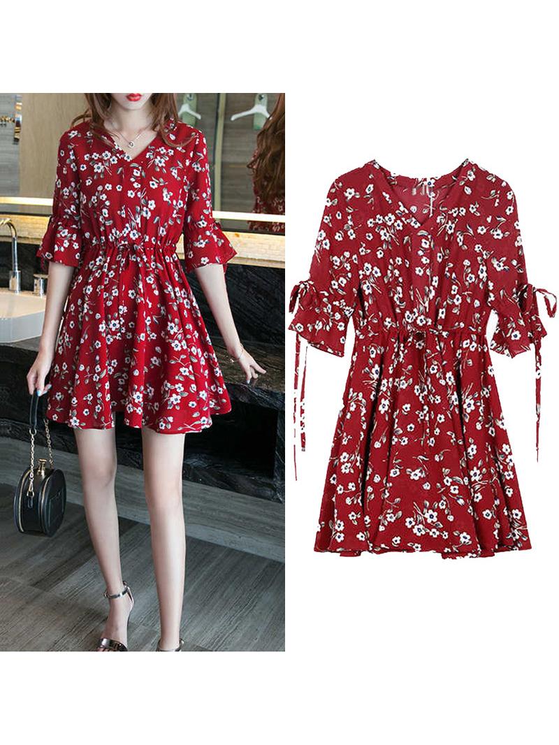Flare Sleeve Smart Waisted Floral Chiffon Dress