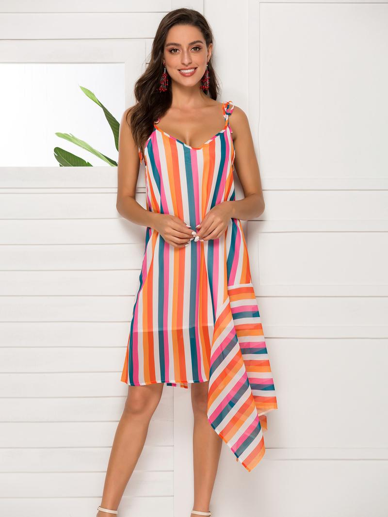 V Neck Irregular Hem Striped Sundress