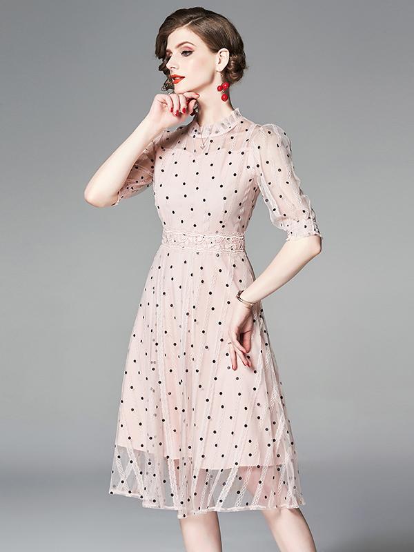 Stand Neck Polka Dots Gauze Pink Dress