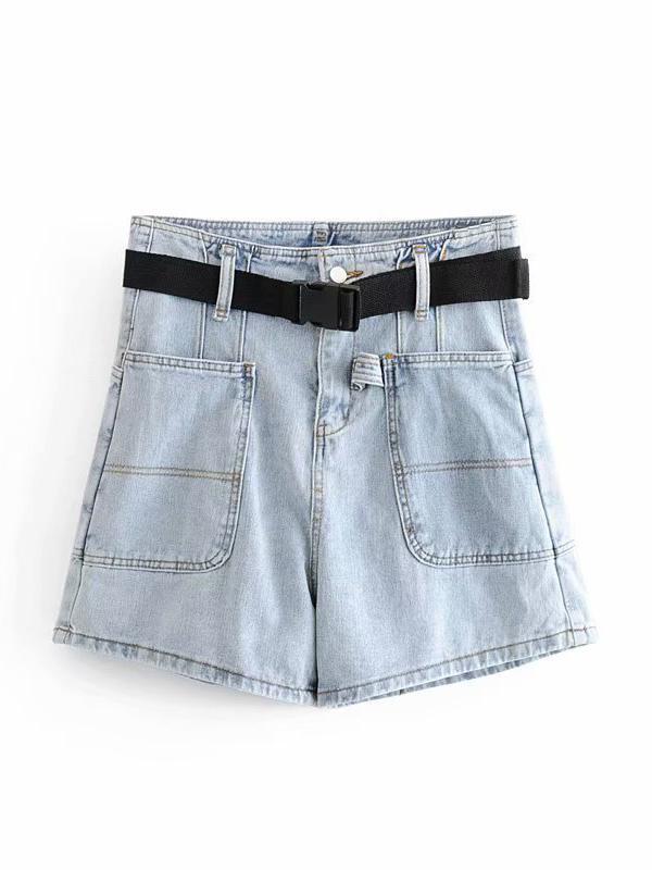 Easy Matching Pocket High Waist Denim Short Pants With Belt