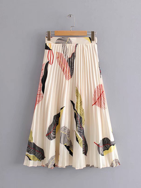 Sweat High Waist Feather Printed Pleated Maxi Skirt