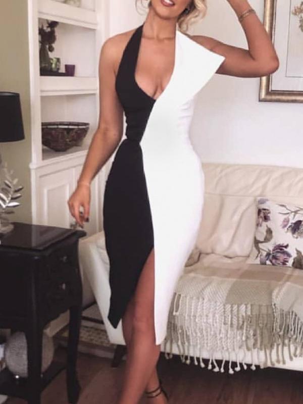 Sexy V Neck Color Block Fitted Halter Formal Dress