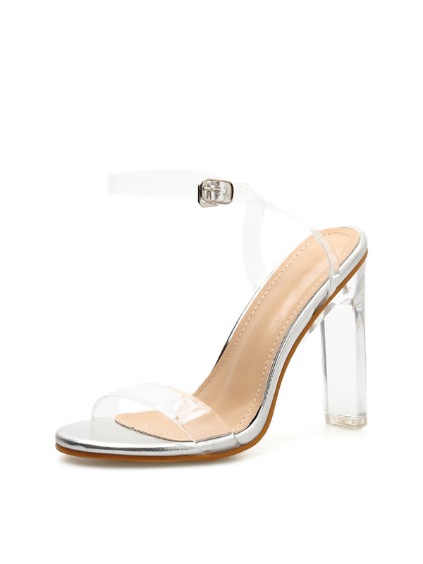 Easy Matching Crystal Ankle Strap Clear Chunky Heel Sandals