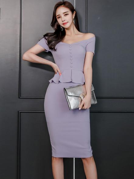 OL Style Off The Shoulder Purple Pencil Dress