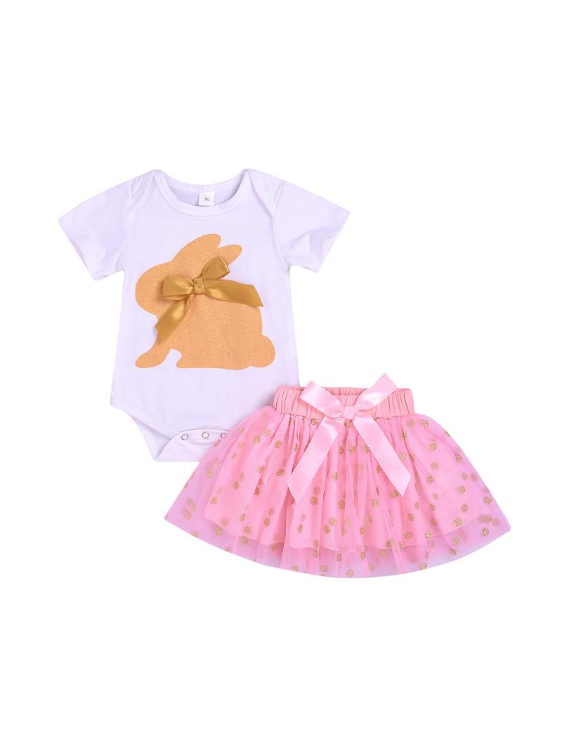 Rabbit Design Romper With Gauze Dots Skirt
