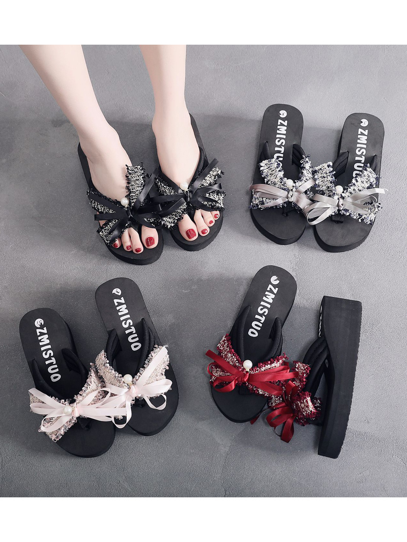 Casual Binding Bow Decorated Platform Flip Flop