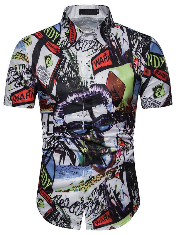 Summer Printing Mens Short Sleeve Shirt