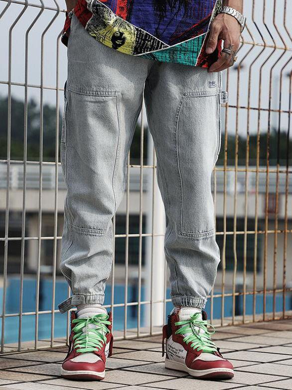 Summer Drawstring Light Blue Jeans For Men