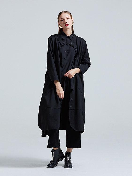 Single-Breasted Pockets Loose Black Long Coat
