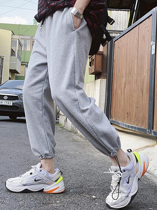 Casual Drawstring Solid Color Mens Pants