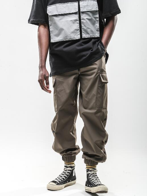 Chic Solid Color Button Up Cargo Pants For Men