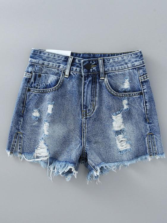 Chic Hollow Out Tassel High Waist Denim Shorts For Women