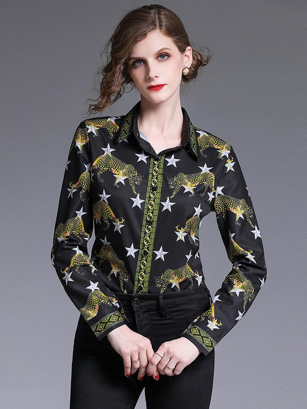 Retro Animal Print Long Sleeve Blouse