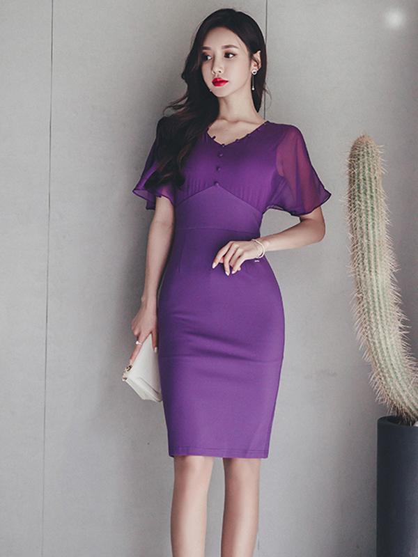 Stylish V Neck Ruffled Sleeve Purple Fitted Dress