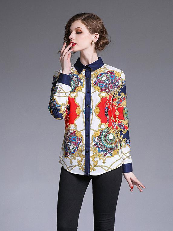 Fashionable Contrast Color Long Sleeve Print Blouse